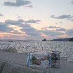 夕陽とカツオとビール